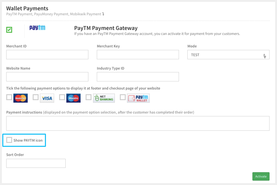 activate paytm payment gateway