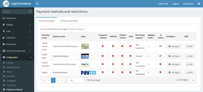 payment method and restrictions
