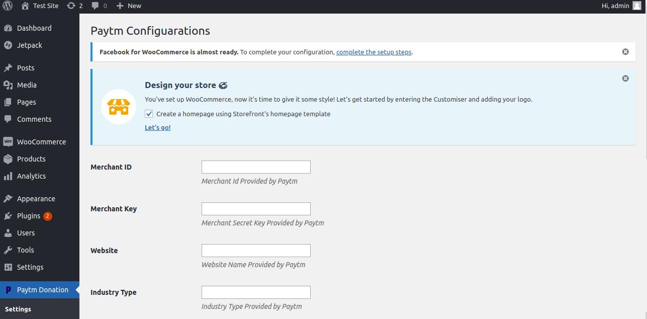 wordpress paytm configuration image